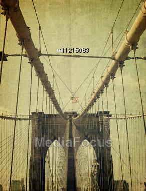 Brooklyn Bridge. Old style image Stock Photo