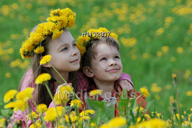 Brother And Sister Enjoy Summer Time In The Dandelion Meadow Stock Photo