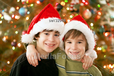 Brothers at Christmas Stock Photo