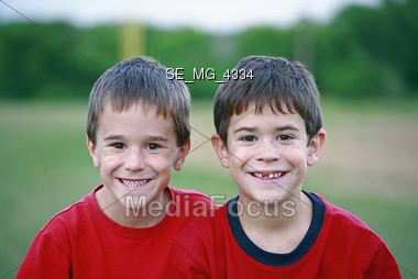 Brothers in Red Stock Photo