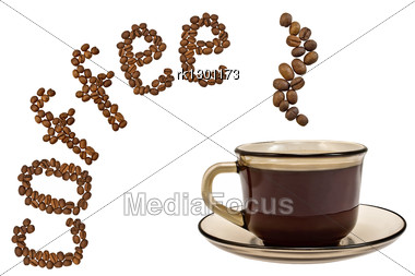 Brown Cup Of Coffee, Steam, And The Word Of The Grains Isolated Stock Photo