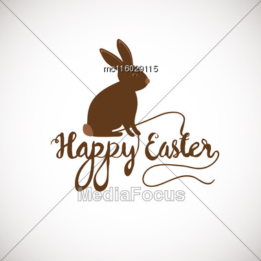 Brown Cute Chocolate Bunny In Grass. Vector Easter Illustration. Happy Easter Banner Stock Photo