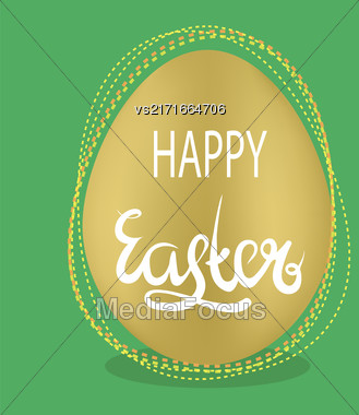 Brown Easter Egg And Lettering On Green Background. Spring Greeting Card Stock Photo