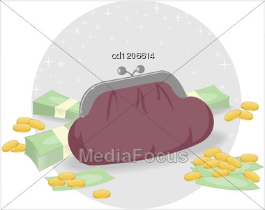 Brown Fat Purse And A Stack Of Money And Coins Stock Photo