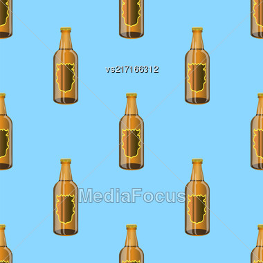 Brown Glass Beer Bottles Seamless Pattern On Blue Background Stock Photo