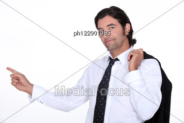 Brown-haired Man Pointing With Finger Stock Photo