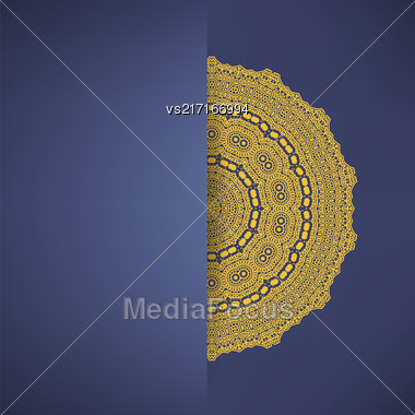 Brown Mandala Isolated On Blue Background. Round Ornament Stock Photo