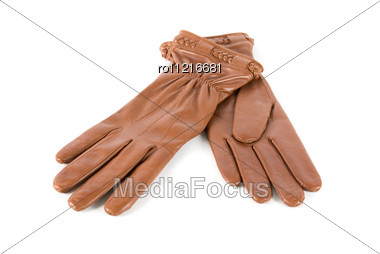 Brown Modern Female Leather Gloves Stock Photo