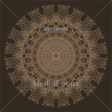 Brown Ornamental Line Pattern. Endless Texture. Oriental Geometric Ornament Stock Photo