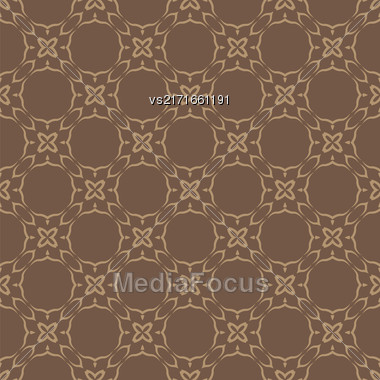 Brown Ornamental Seamless Line Pattern. Endless Texture. Oriental Geometric Ornament Stock Photo