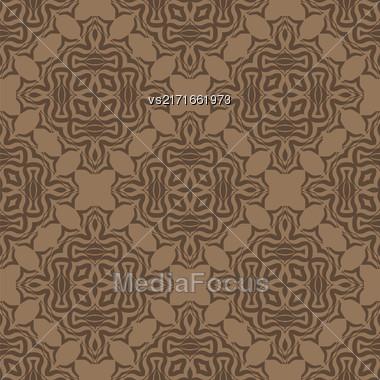 Brown Ornamental Seamless Line Pattern. Endless Texture. Oriental Geometric Ornament Stock Photo