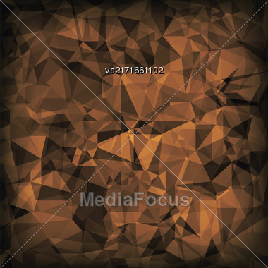 Brown Polygonal Background. Brown Crystal Triangle Pattern Stock Photo