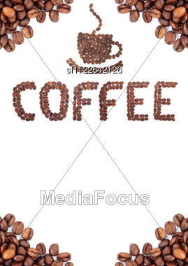 Brown Roasted Coffee Beans. Shot In A Studio Stock Photo