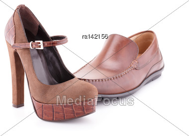 Brown Shoes Isolated On White Background Stock Photo