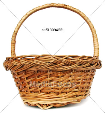 Brown Willow Basket For Fruits Isolated Stock Photo