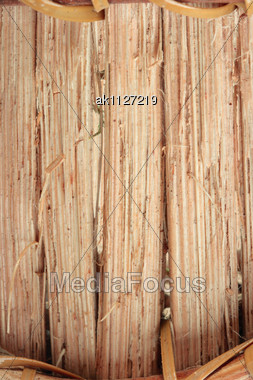 Brown Wood Basket Background. Studio Photography. Close-up Stock Photo