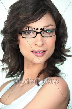 Brunette In Trendy Glasses Stock Photo