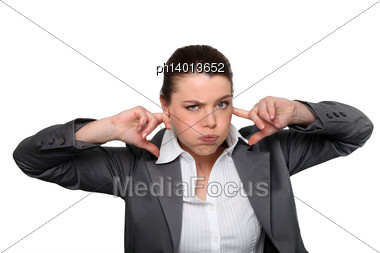 Brunette Office Worker Stock Photo