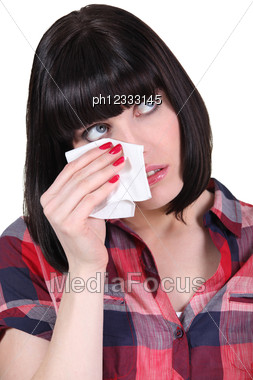 Brunette With Tissue Stock Photo
