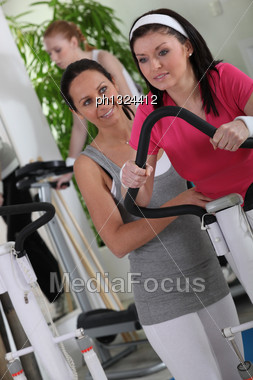 Brunette Woman In The Gym Stock Photo