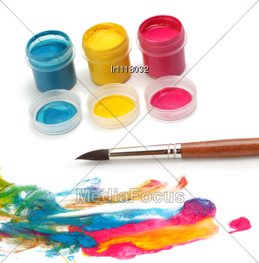 brush and colors Stock Photo
