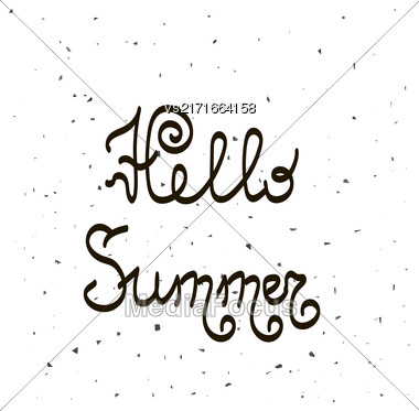 Brush Lettering Composition.Phrase Hello Summer. Hello Summer Text Title Poster Design Stock Photo