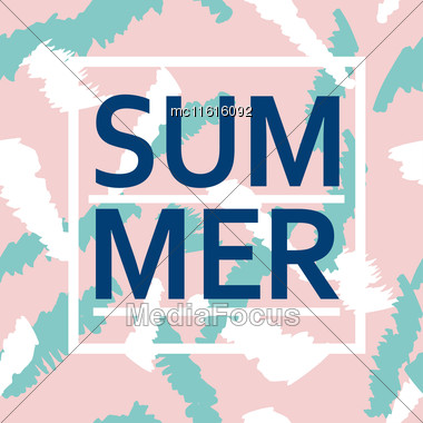 Brush Stroke Seamless Pattern With Word Summer. Summer, Spring Pink And Blue Poster For Fabric, Prints, Cloth, Paper And Textile Stock Photo