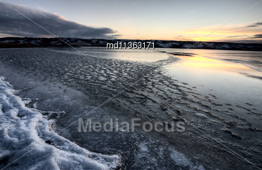 Buffalo Pound Lake Saskatchewan Canada Ice Design Stock Photo