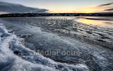 Buffalo Pound Lake Saskatchewan Canada Ice Design Stock Photo