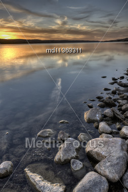 Buffalo Pound Lake At Sunset Colorful And Serene Stock Photo