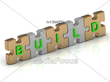 BUILD Word Of Gold Puzzle And Silver Puzzle Stock Photo
