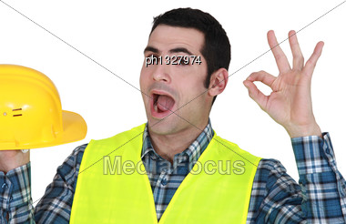 Builder Giving The Ok Stock Photo