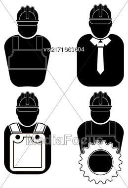 Builder Icon Set Isolated On White Background Stock Photo