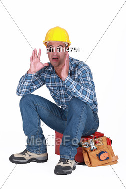 Builder Panicking Stock Photo