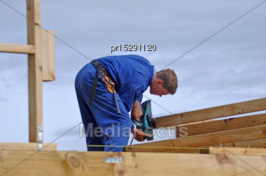 Builder Planes Bottom Of Plate For Building Stock Photo