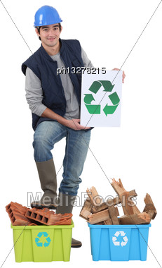 Builder Recycling Old Material Stock Photo