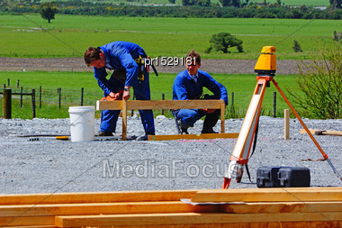 Builders Mark Out The Profile For A Building At A Construction Site In Westland Stock Photo