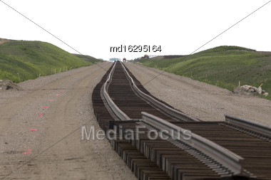 Buildind A Railroad Track For A Saskatchewan Potash Mine Stock Photo