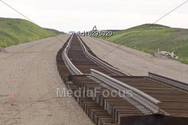 Buildind A Railroad Track For A Saskatchewan Potash Mine Stock Photo