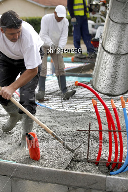Building Cement Foundations Stock Photo