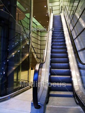 Building Escalator Stock Photo