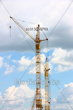Building Of The New High House By The Crane Stock Photo