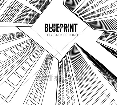 Building Wireframe. 3d Render City. Vector Blueprint Illustration Stock Photo