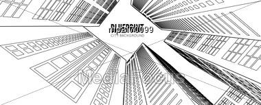 Building Wireframe. 3d Render City. Vector Blueprint Illustration Stock Photo
