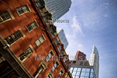 Buildings Old And New Toronto Yonge Street Downtown Stock Photo