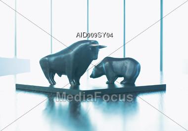 Bull & Bear Statues, Stock Symbols Stock Photo
