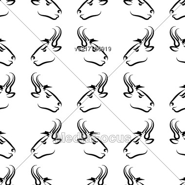 Bull Head Icon Seamless Pattern. Farm Cow Background Stock Photo