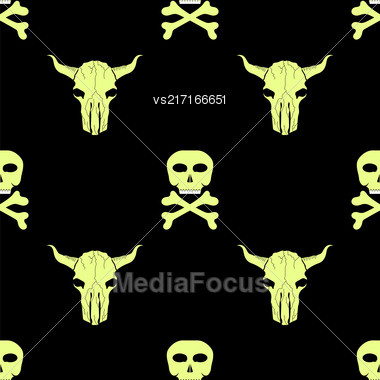 Bull And Man Skull Silhouette Seamless Pattern. Animal Background Stock Photo