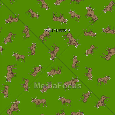Bull Random Seamless Pattern. Farm Cow Background Stock Photo