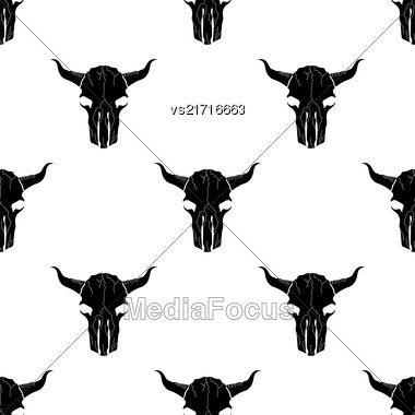 Bull Skull Silhouette Seamless Pattern. Animal Background Stock Photo